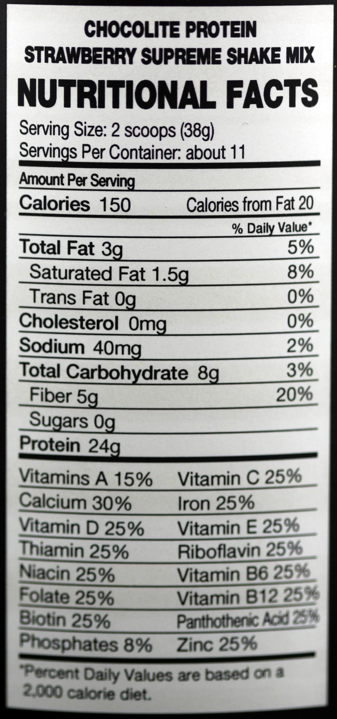 Chocorite Protein Strawberry Shake Mix 1lb