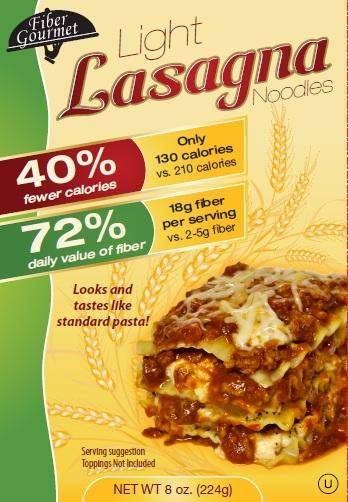 Fiber Gourmet High Fiber Low Calorie Lasagna