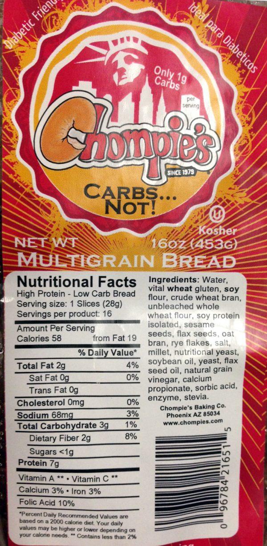 Chompies Bakery Low Carb Bread Multigrain