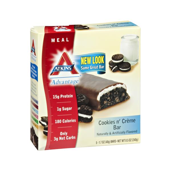 Atkins Advantage Cookies N Cream Bar box of 5