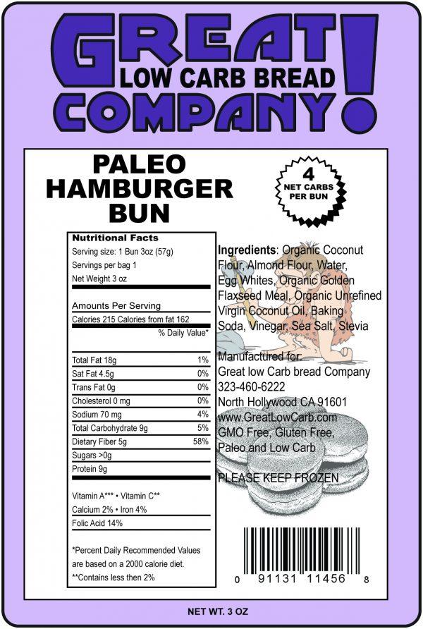 Great Low Carb Paleo Hamburger Bun 3oz Individual