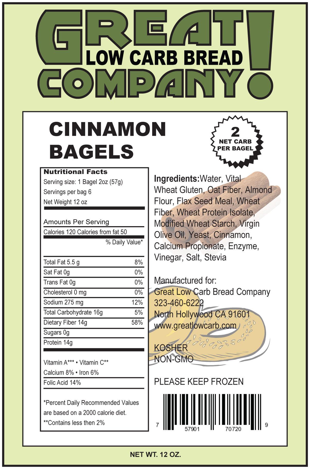 Great Low Carb Cinnamon Bagels 6 bags (Saves $1.00 per bag!)