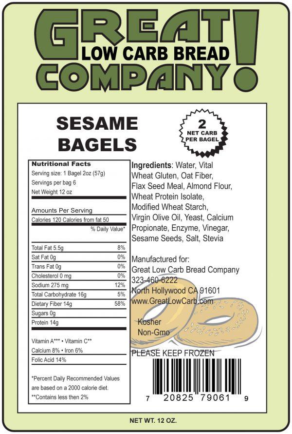 Great Low Carb Sesame Bagels 6 bags (Saves $1.00 per bag!)