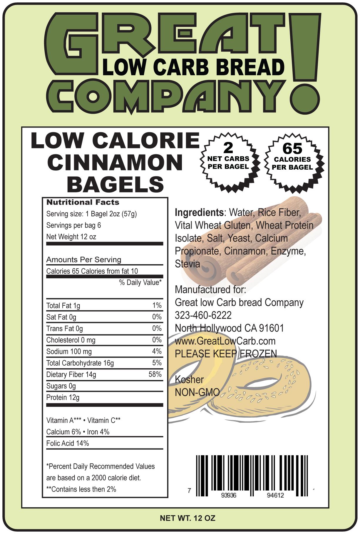 Great Low Carb Cinnamon Bagels 6 Bags 65 Calorie Version (Saves $1.00 per bag!)