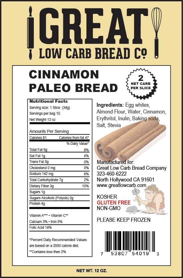 Great Low Carb Bread Company sliced Paleo Bread Cinnamon 12oz