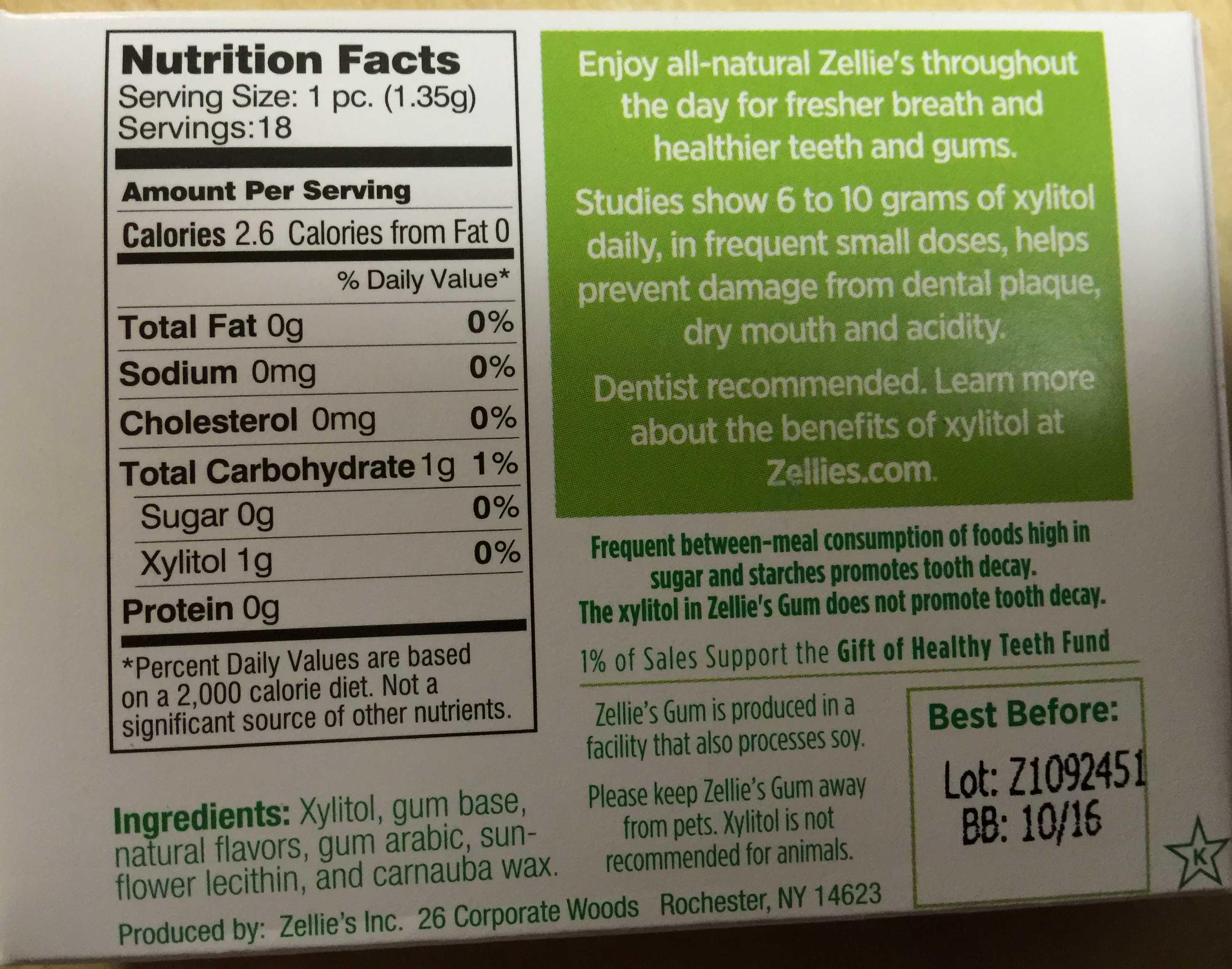 Zellie's Sugar Free Spearmint Gum 18 pieces