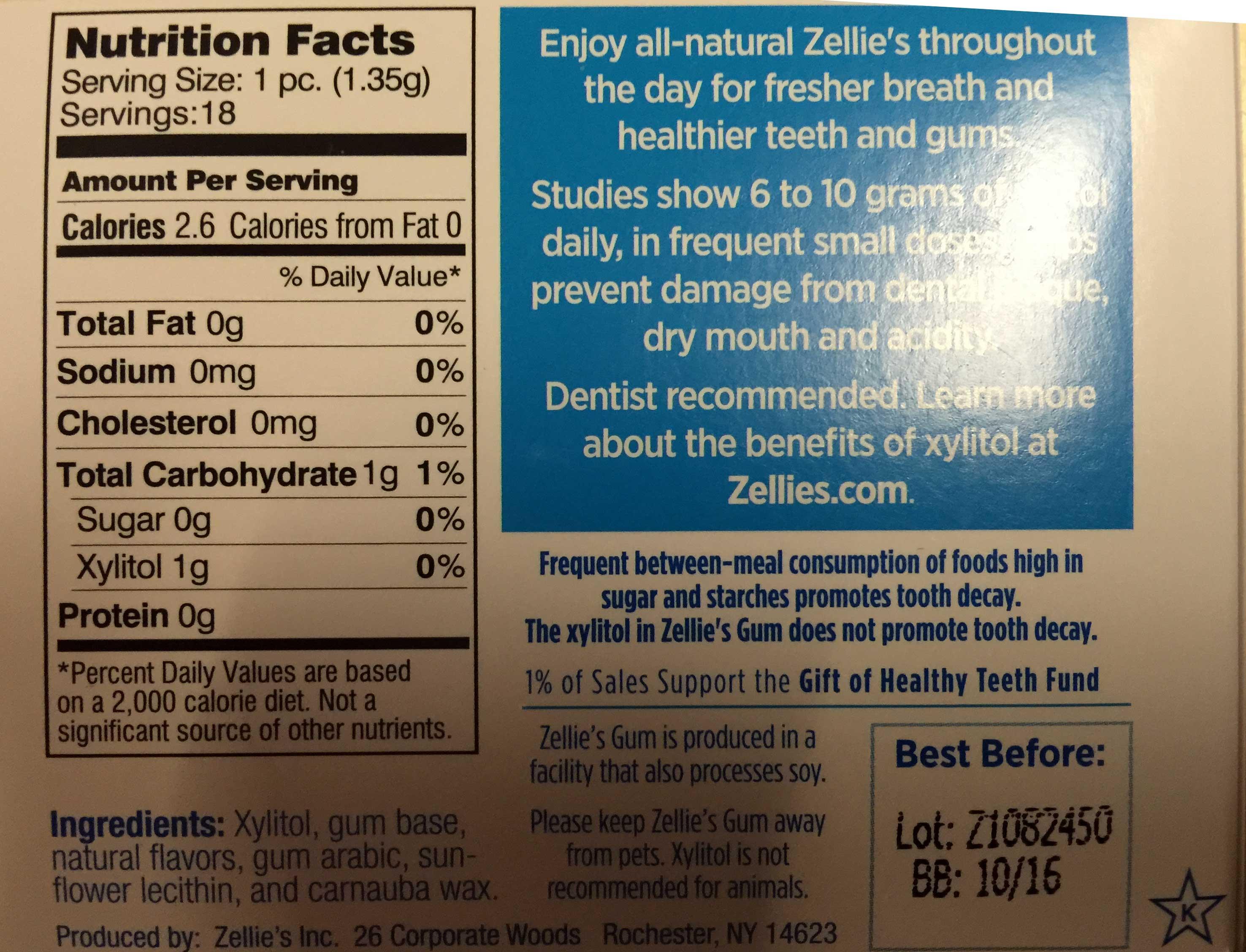 Zellie's Sugar Free Peppermint Gum 18 pieces