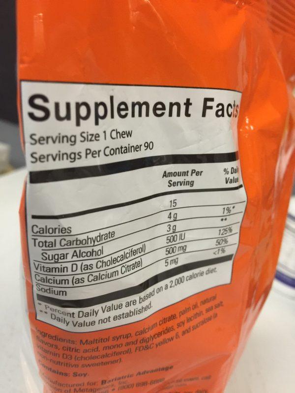 Bariatric Advantage 500mg Calcium Citrate Tropical Orange 90 chews