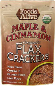 Foods Alive Low Carb Flax Crackers Maple n Cinnamon