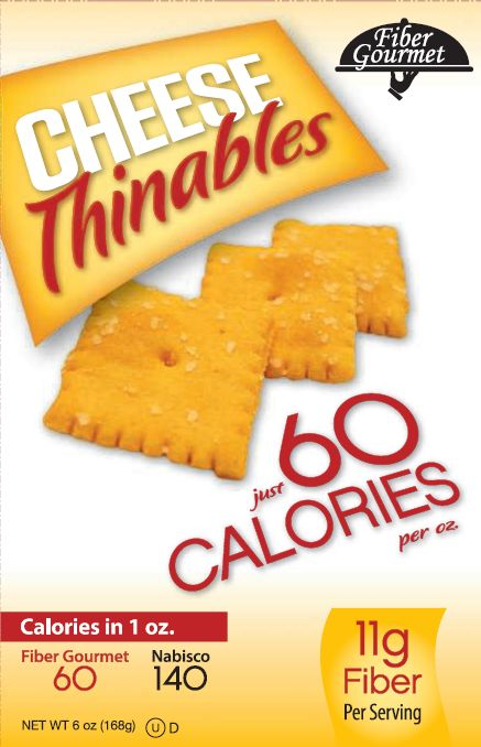 Fiber Gourmet Sharp Cheddar Cheese Thinables Snack Crackers 6oz
