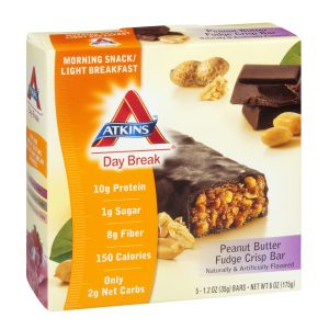 Atkins Low Carb Peanut Butter Crisp Breakfast Bars 5 Pack