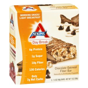 Atkins Daybreak Chocolate Oatmeal Fiber Bar Box of 5