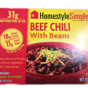 Lc Homestyles Ready to eat low carb Beef Chili meal 10oz