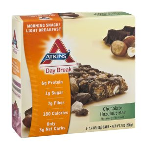 Atkins Low Carb Chocolate Hazelnut Daybreak bar box of 5
