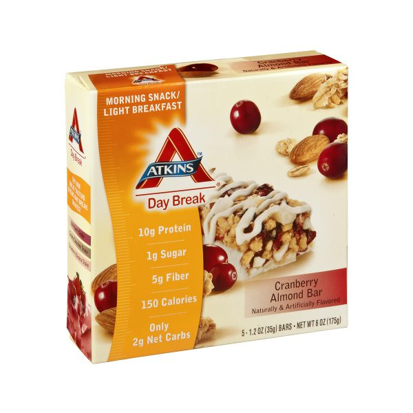 Atkins Low Carb Cranberry Almond Breakfast Bars 5 Pack
