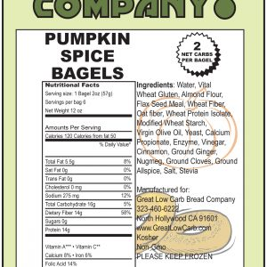 Great Low Carb Pumpkin Spice Bagels 6 bags( Savies $1.00 per bag!)