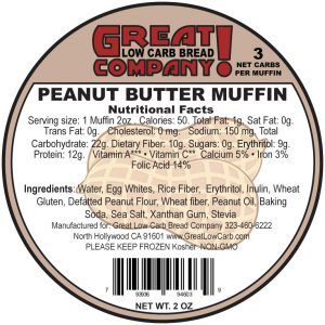 Great Low Carb Low Fat Peanut Butter Muffin 2oz