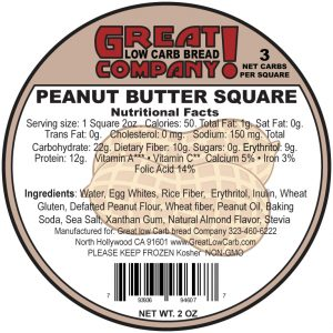 Great Low Carb low fat Peanut Butter cake Square 2oz