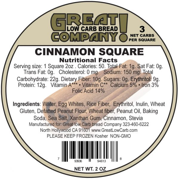 Great Low Carb Low Fat Cinnamon Square 2oz