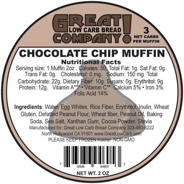 Great Low Carb Low Fat Chocolate Chip Muffin 2oz