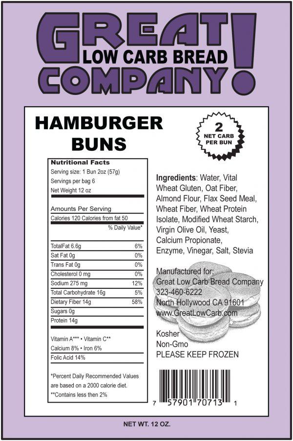 Great Low Carb Hamburger Buns 6 bags (Saves $1.00 per bag!)