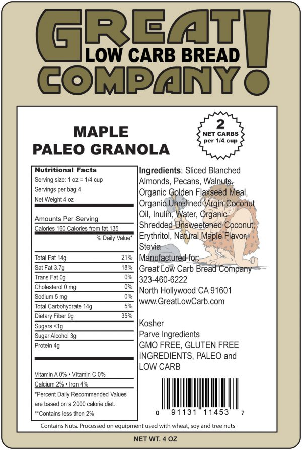 Great Low Carb Paleo Granola Maple Flavor 4oz
