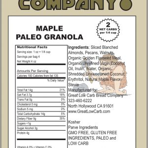 Great Low Carb Paleo Granola Coconut Flavor 4oz