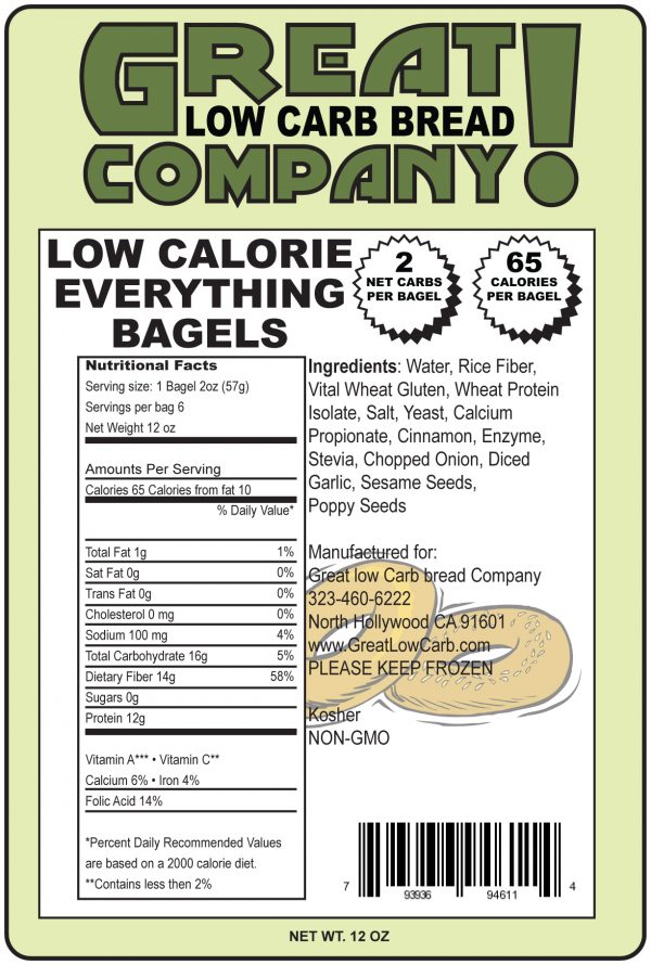 Great Low Carb Everything Bagels 6 Bags 65 Calorie Version(Saves $1.00 per bag!)