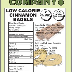 Great Low Carb Cinnamon Bagels 6 Bags 65 Calorie Version (Saves $1.00 per bag!)