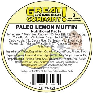 Great Low Carb Paleo Lemon Muffin 2oz.