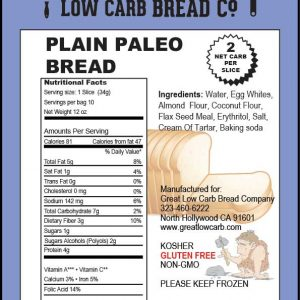 Great Low Carb Bread Company sliced Paleo Bread Plain 12oz