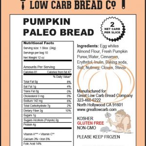 Great Low Carb Bread company sliced Paleo Bread Pumpkin 12oz