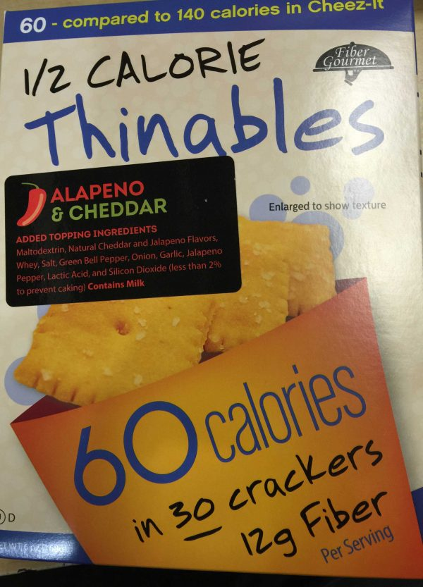 Fiber Gourmet Jalapeno & Cheddar Thinables snack Crackers 6oz