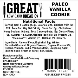 Great Low Carb Paleo Cookie Vanilla 1.6 oz