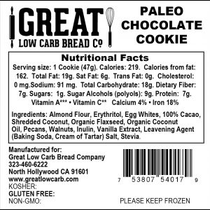 Great Low Carb Paleo Cookie Chocolate Chunk 1.6oz