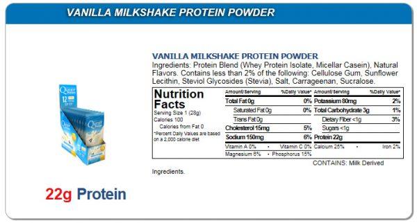 Quest Low Carb Vanilla Milkshake powder Single Packet