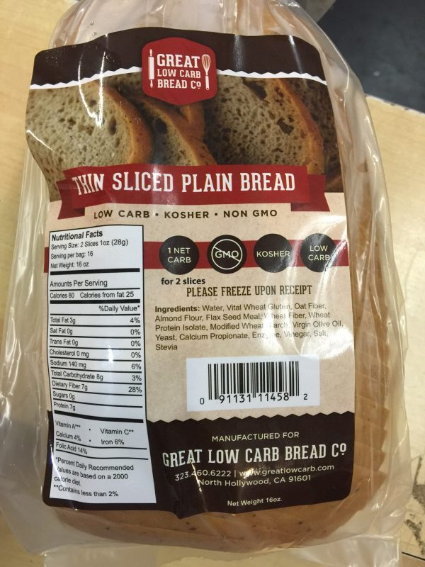 Great Low Carb Thin Sliced Plain Bread