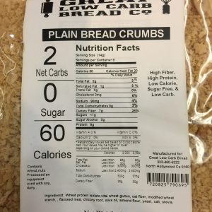 Great Low Carb Plain Bread Crumbs 4oz bag