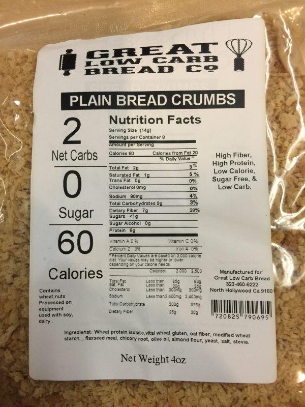 Great Low Carb Plain Bread Crumbs 4oz bag