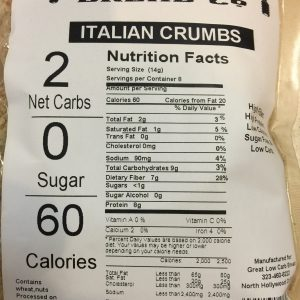Great Low Carb Italian Bread Crumbs 4oz bag