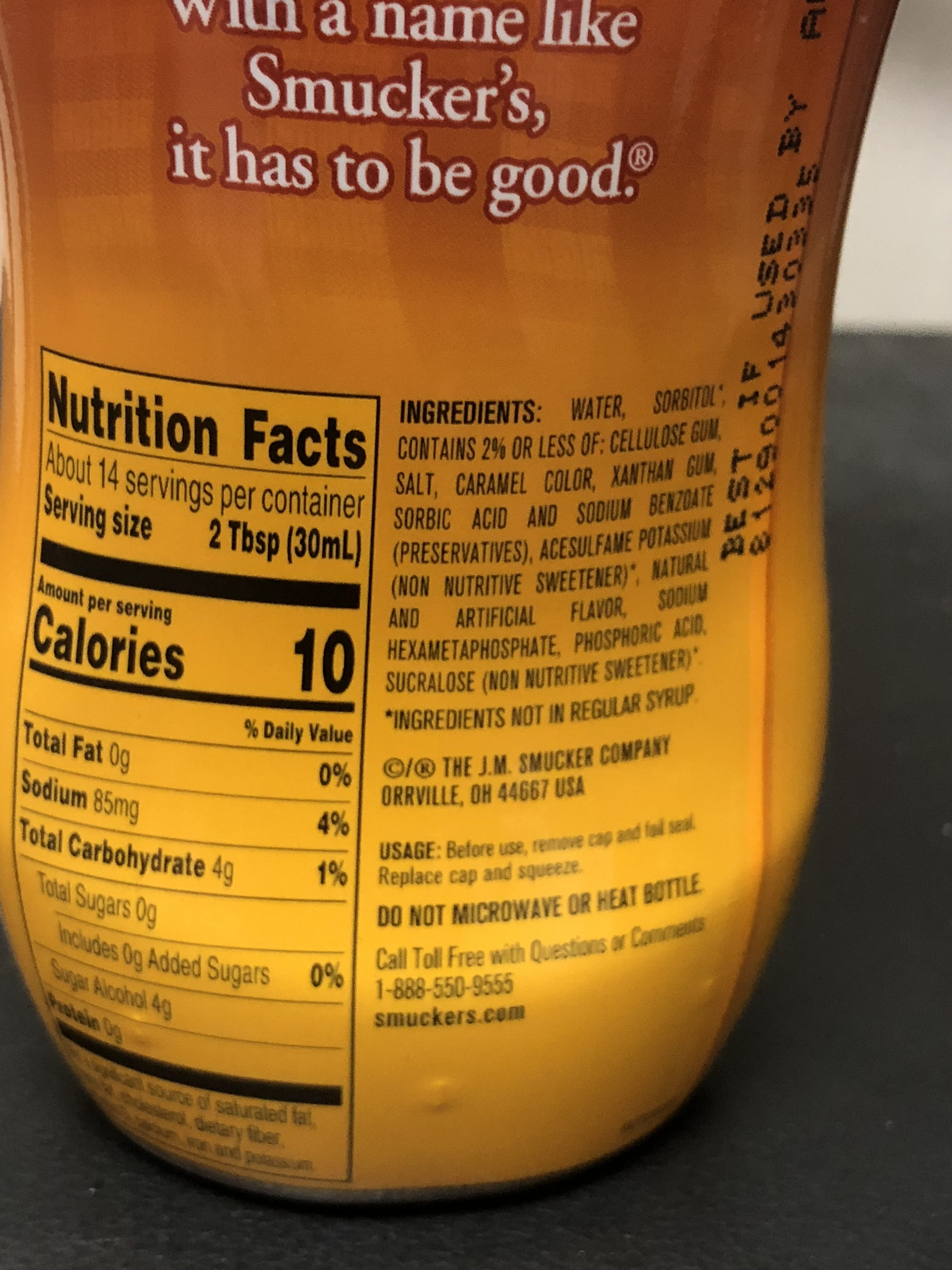 Smuckers Sugar Free Breakfast Syrup 14
